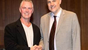 Blakeman Prize winner Mark Grandison with Professor Andrew Schulz