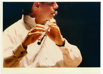 Geoffrey Collins playing flute, year unknown